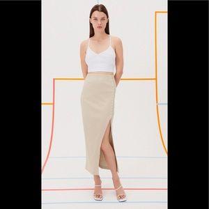 New Zara Ribbed Midi Skirt Beige
